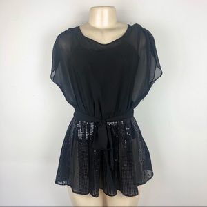 Twenty One Black Woven Tunic Sequin Top - NWT